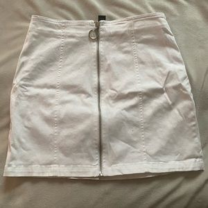 white zip up mini skirt